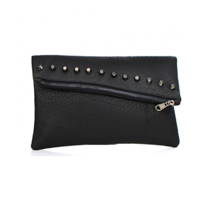 Women's Clutch Black Studded Leather With Zipper Closure FashionIsUs.com