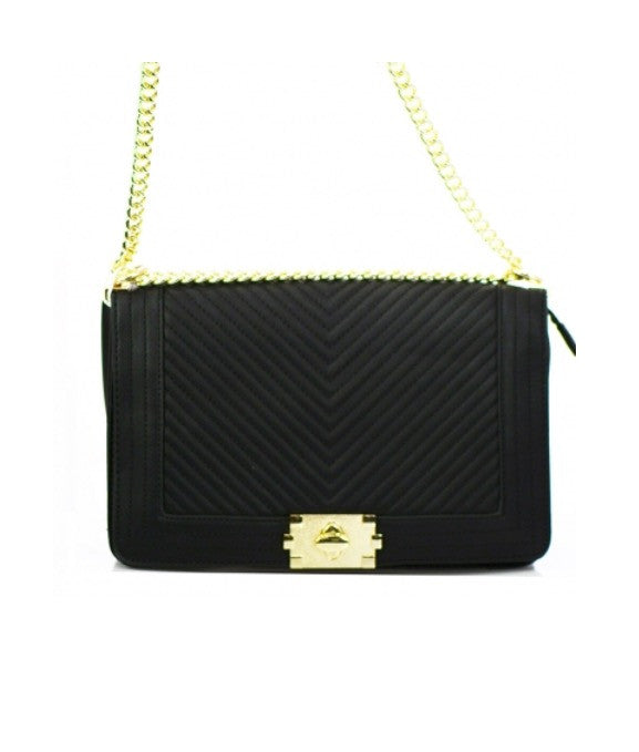 Women's Shoulder Handbag Black Leather Gold Accent FashionIsUs.com
