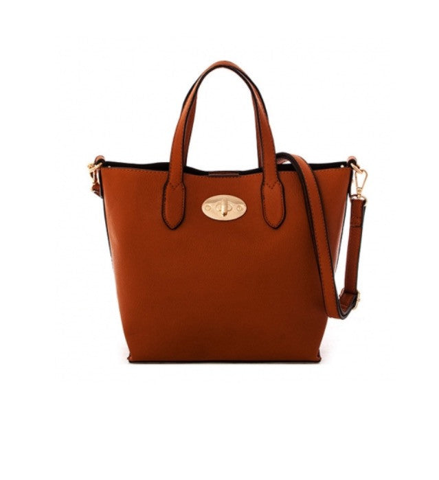 Women's Handbag Brown Leather Messenger Handbag FashionIsUs.com