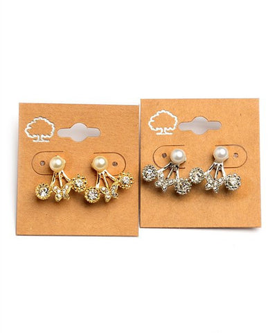 Women's Earrings Burnished Rhinestone Ear Jacket FashionIsUs.com