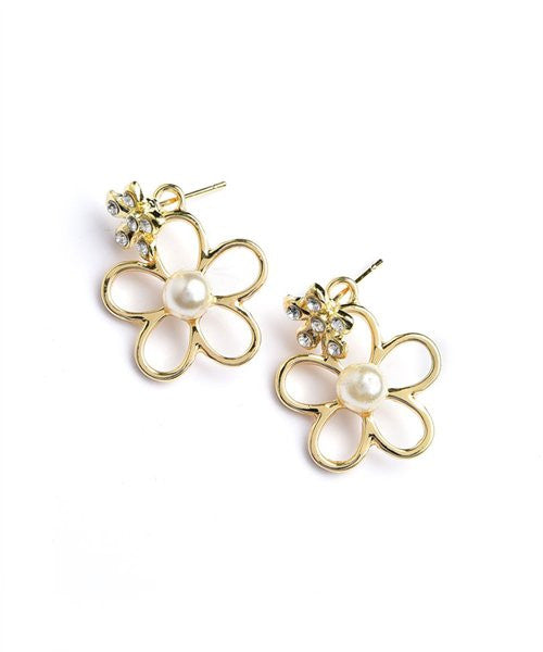 Women's Earrings Flower Shape Pearl And Stone Earrings FashionIsUs.com