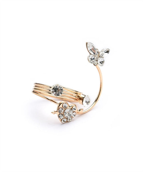 Women's Ring Butterfly Shape Stone Coil Rings FashionIsUs.com