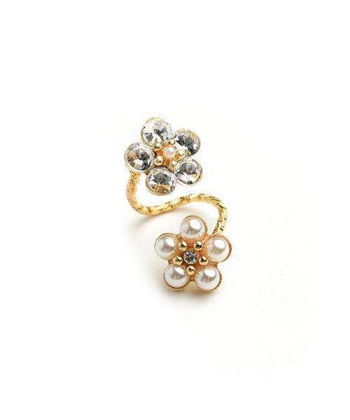 Women's Ring Flower Shape Stone And Pearl Ring FashionIsUs.com