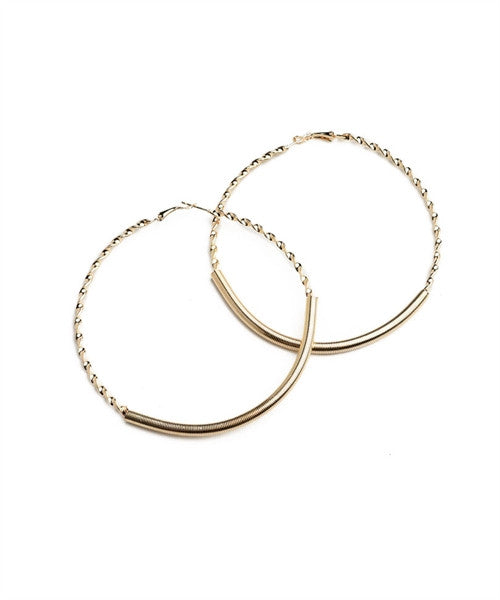 Women's Earrings Hoop Twisted Polish Finish Gold Color FashionIsUs.com