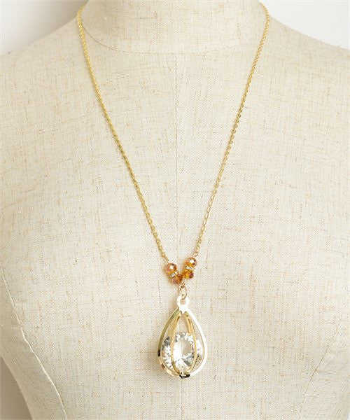 Women's Necklace Tear Drop Stone Shape Chain Necklace FashionIsUs.com