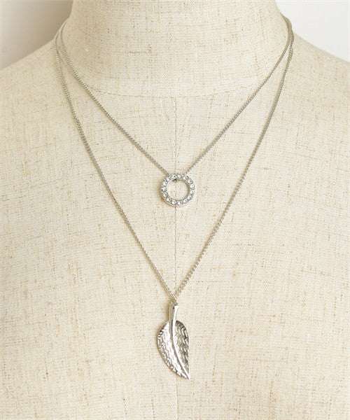 Women's Necklace Two Leaf Chain- FashionIsUs.com