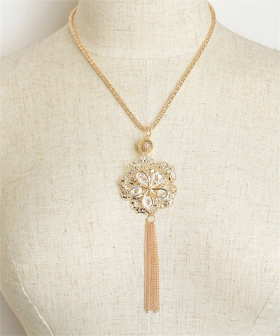 Women's Necklace Flower Shape Fringed Tassel Chain Necklace FashionIsUs.com