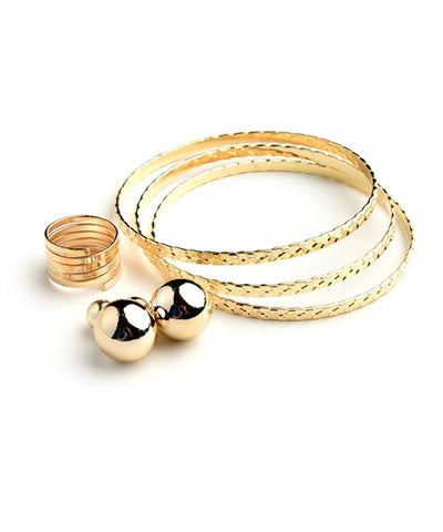 Women's Cuff Bracelet Ring Earrings Set FashionIsUs.com