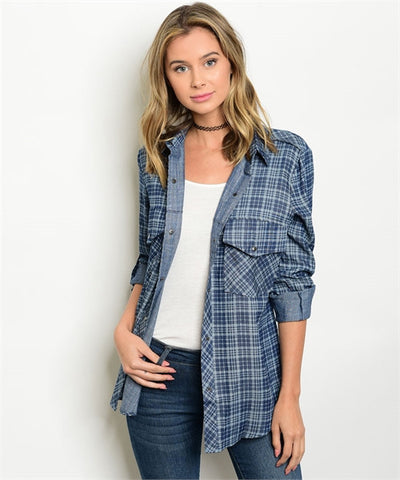 Women's Plaid Denim Button Down Checkered Shirt  FashionIsUs.com