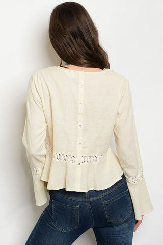 Women's Beige Bell Sleeve tops - FashionIsus.com