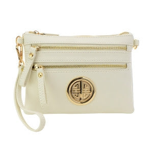 Women's Crossbody Double Zipper  Bag Beige FashionIsUs.com