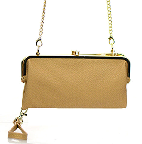 Women's Clutch Leather With Gold Metal Hardware Complements FashionIsUs.com