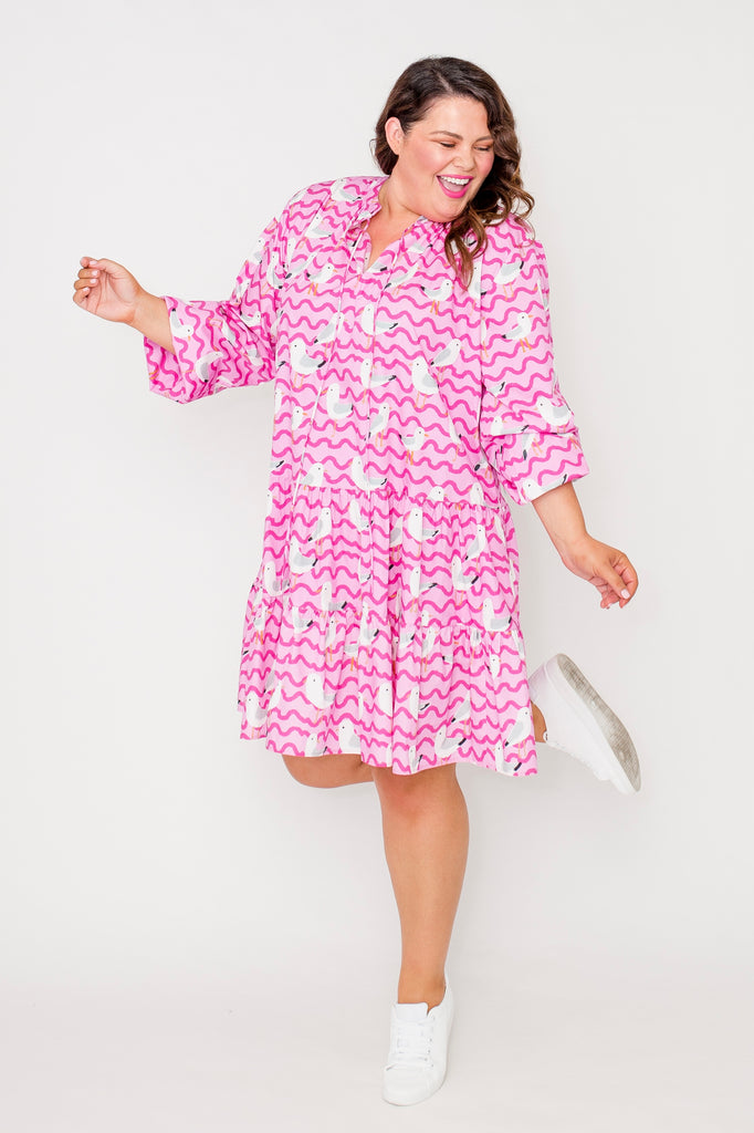 Hey Gull Friend tiered smock dress