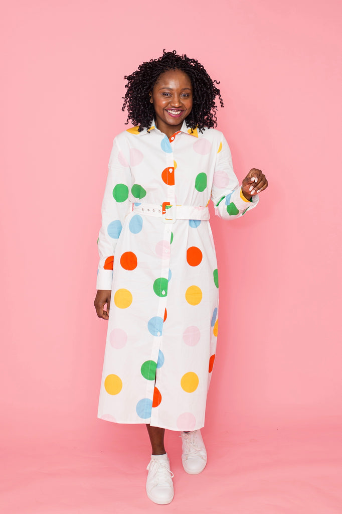 Spot On button-up midi dress
