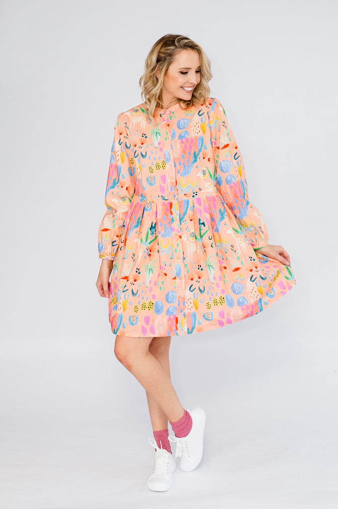 Little Llama (peach) pleated dress