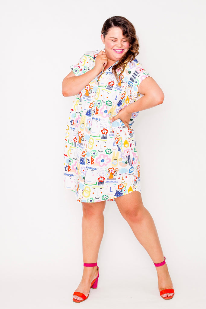 Flower lovers button-up boxy dress