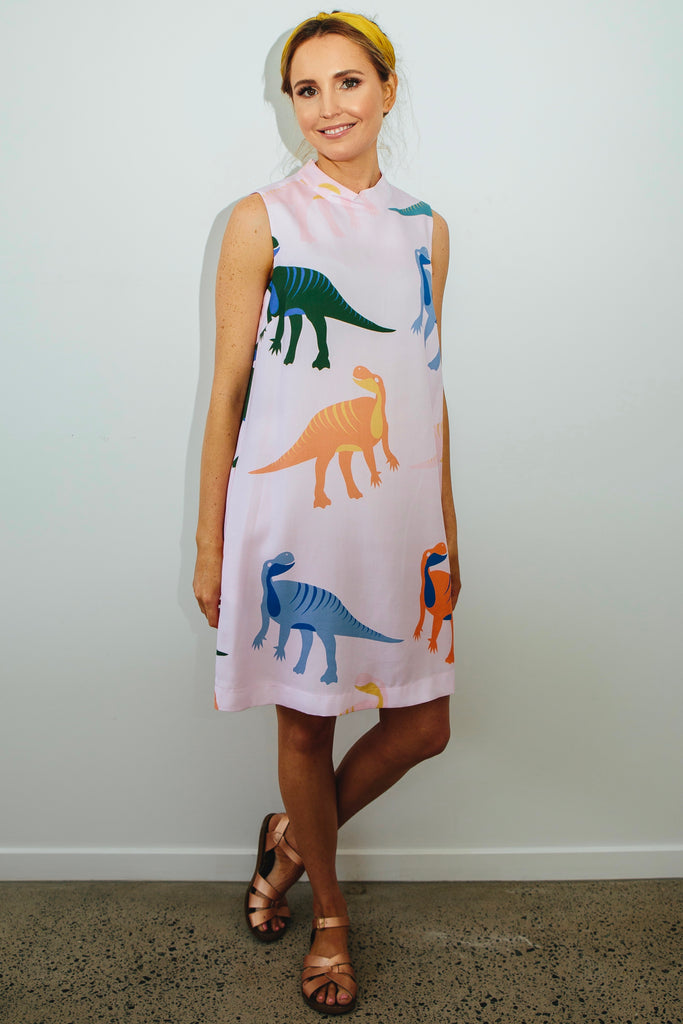 Dino high neck shift dress