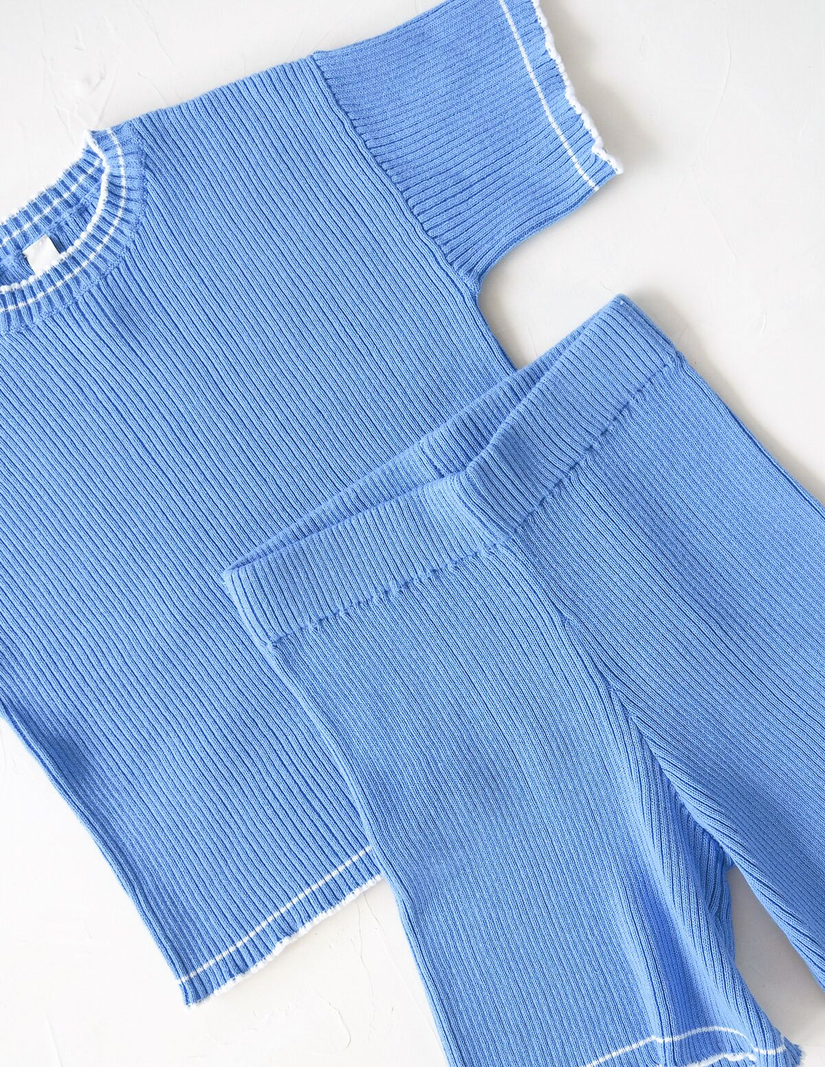The Anyday Rib Knit Culotte - Sky Blue