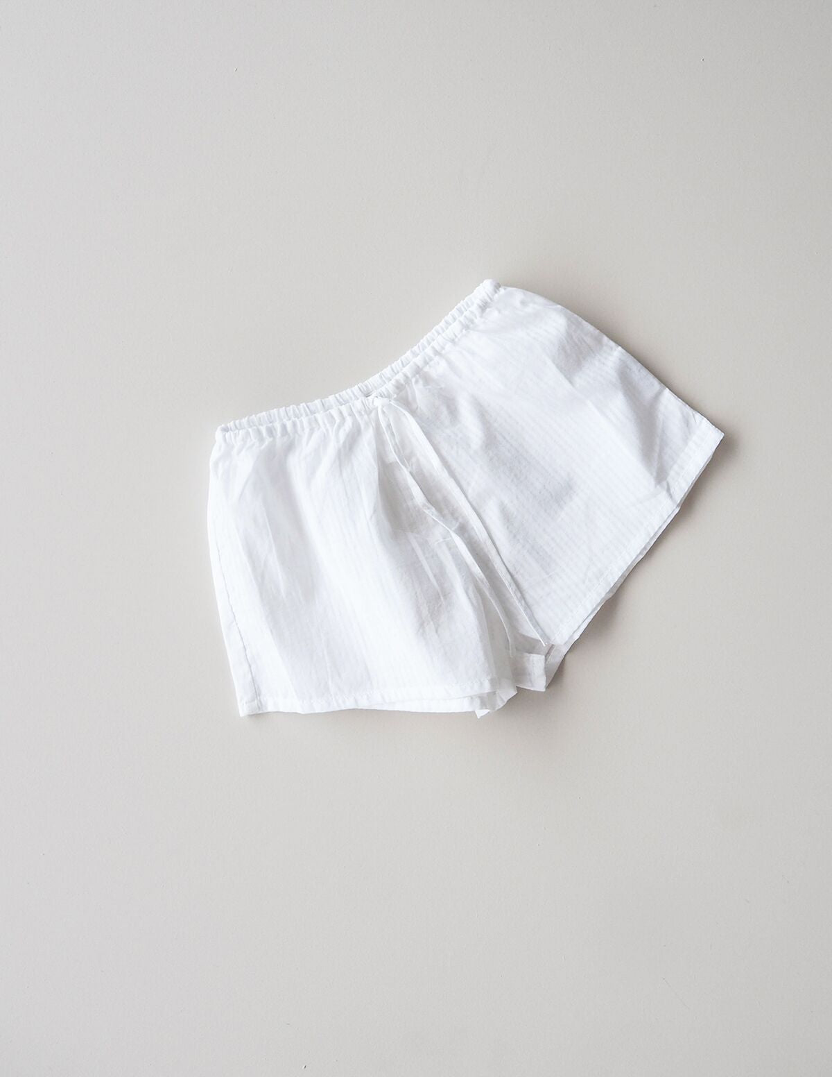 Simple Cotton Bed Shortie - white