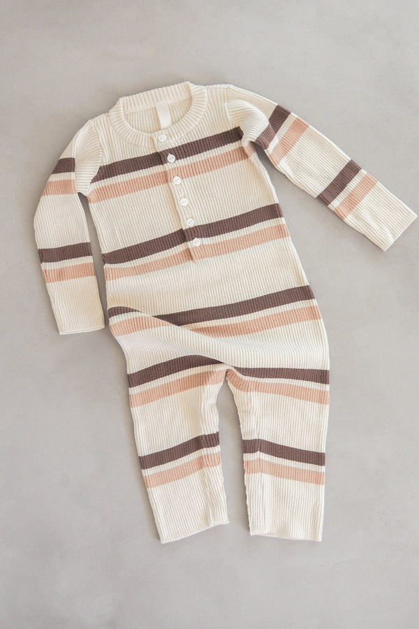 The Comfy All In Onesie - Chocolate Stripe