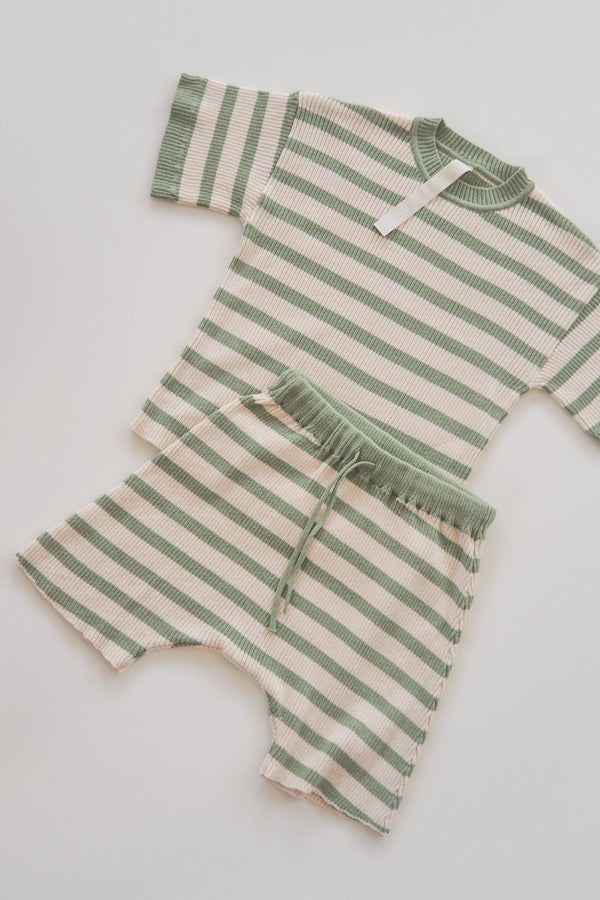 The Fancy Short - Olive & Natural Stripe