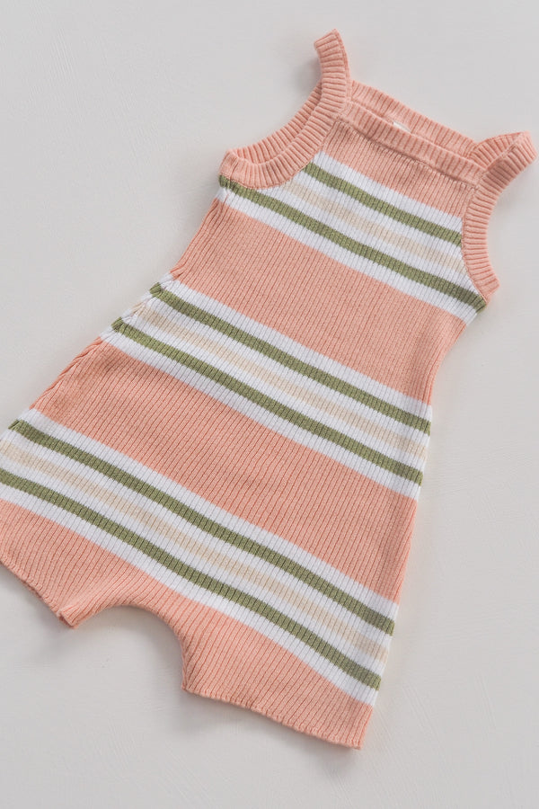 The Adventure Onesie - Grapefruit Stripe