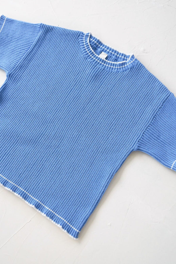 The Anyday Rib Knit Tee - Sky Blue