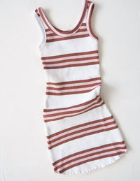 The Holiday Dress - earth stripe