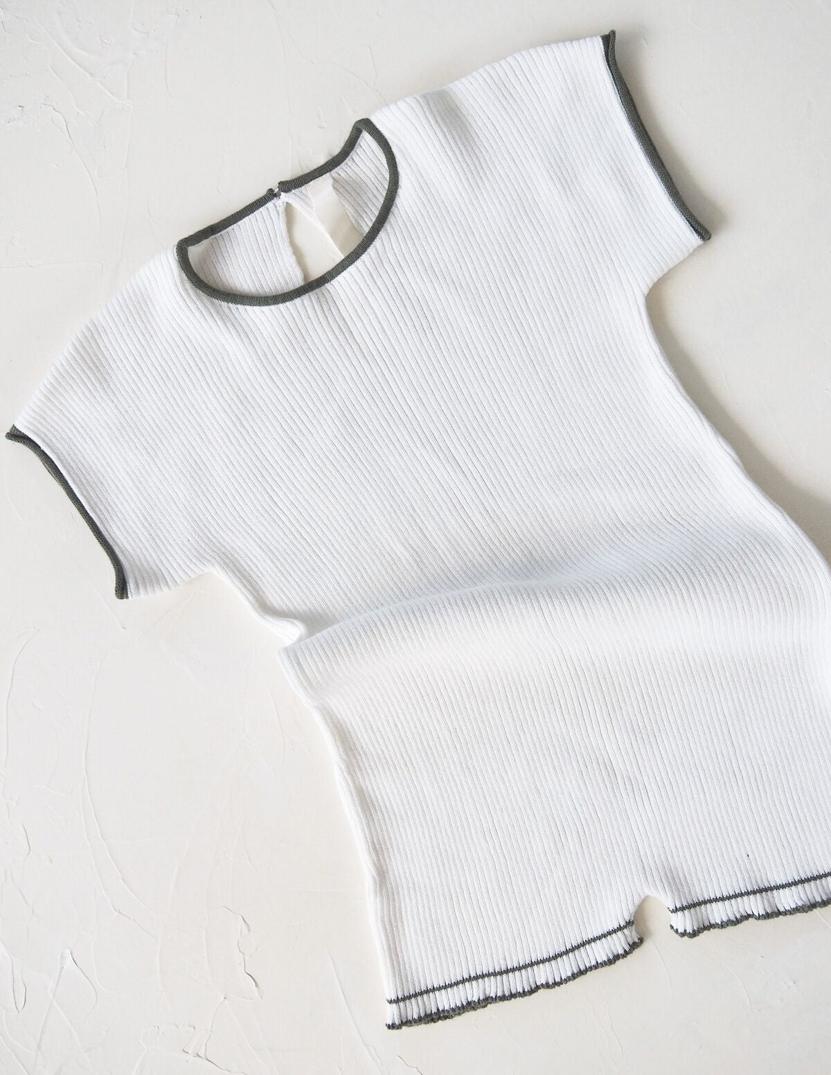 The Anyday Rib Knit Playsuit - White