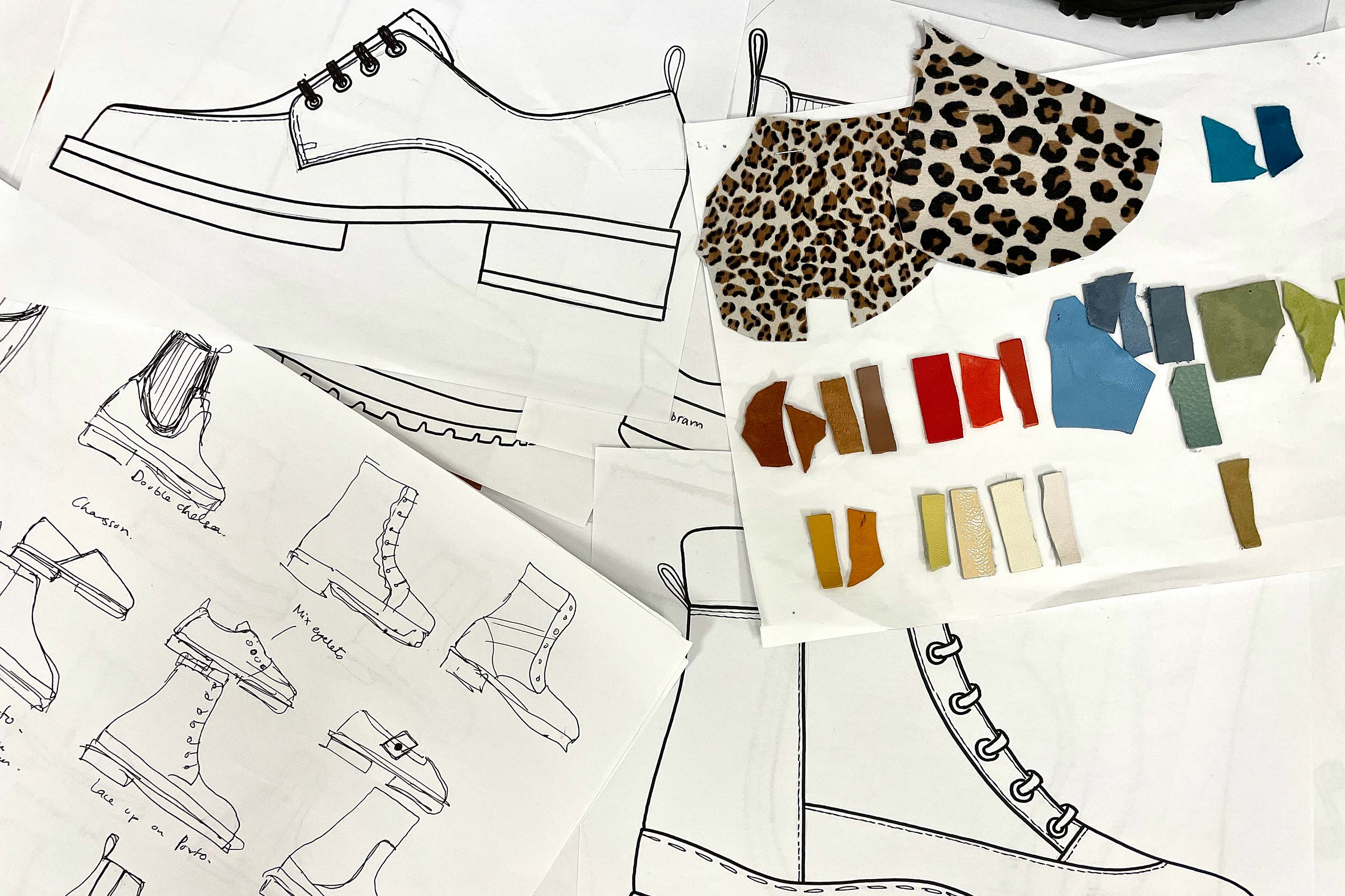 Shoes sketches and colours palettes