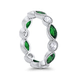 Eternity Style Ring Marquise Round Simulated Green Emerald CZ 925 Sterling Silver