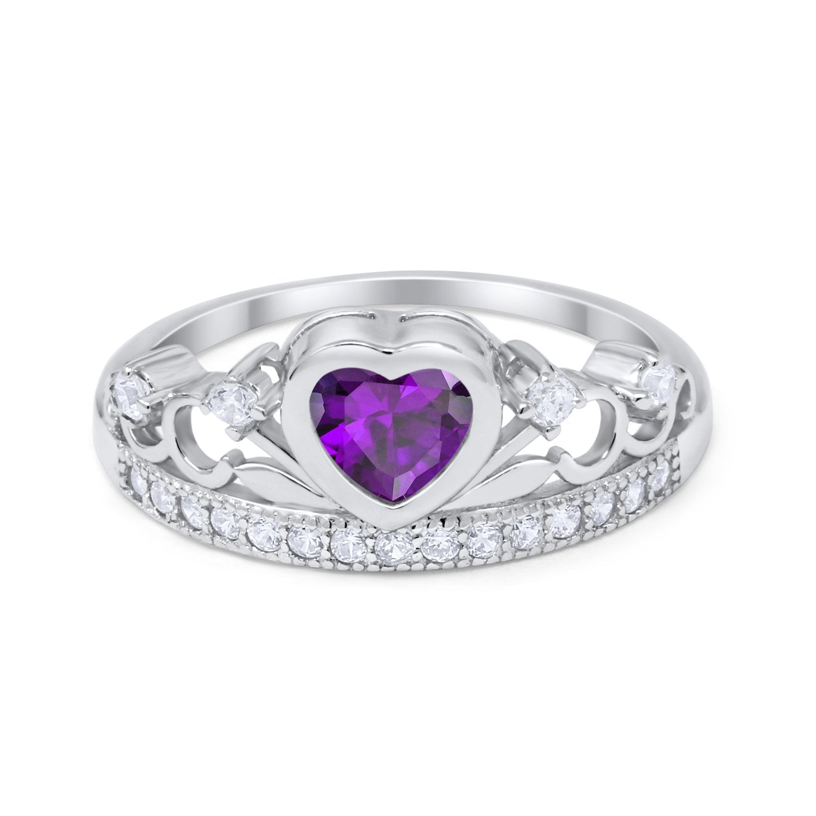 Heart Crown Ring Eternity Simulated Amethyst CZ 925 Sterling Silver