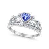 Heart Crown Ring Eternity Simulated Tanzanite CZ 925 Sterling Silver