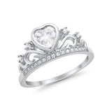 Heart Crown Ring Eternity Simulated Cubic Zirconia 925 Sterling Silver