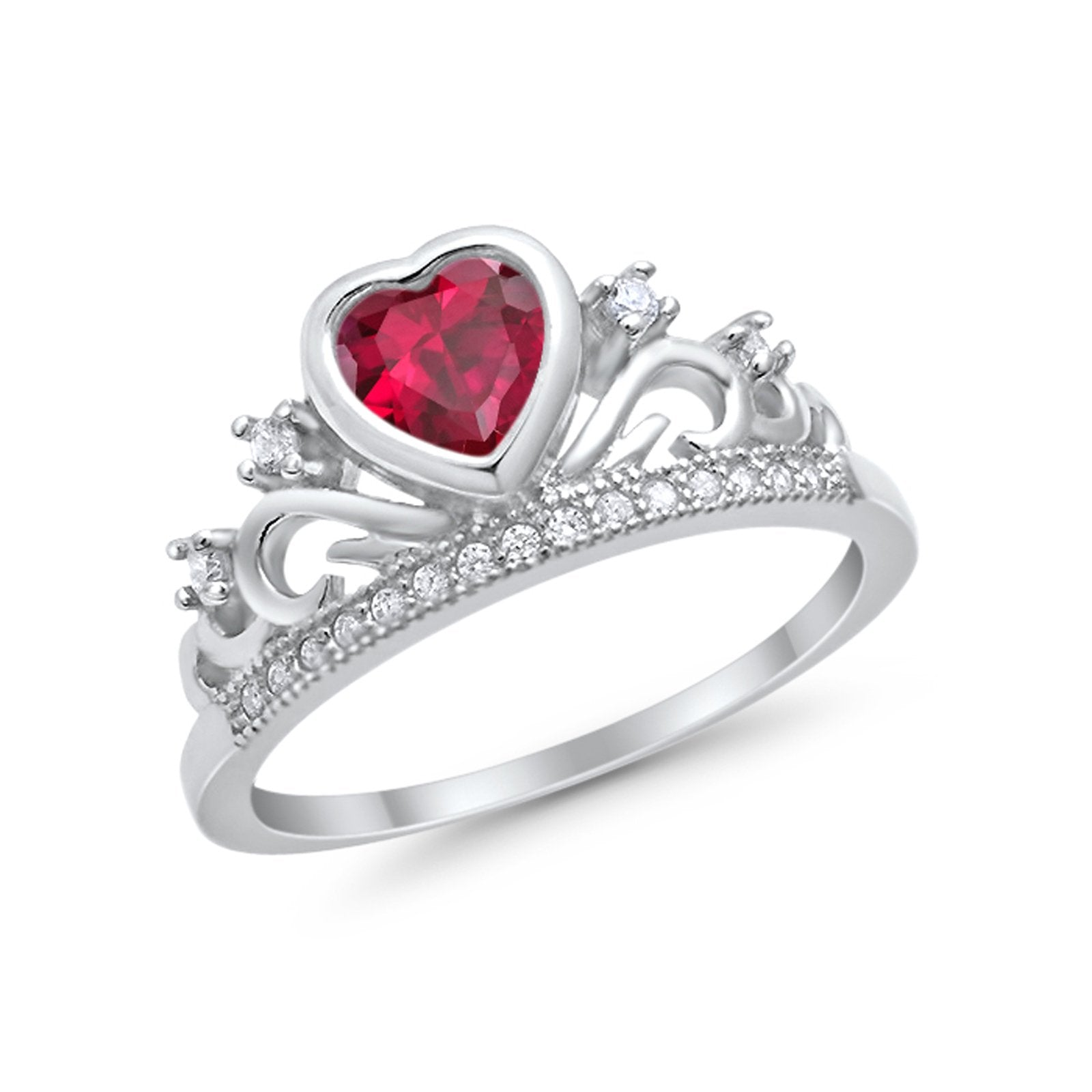 Heart Crown Ring Eternity Simulated Ruby CZ 925 Sterling Silver