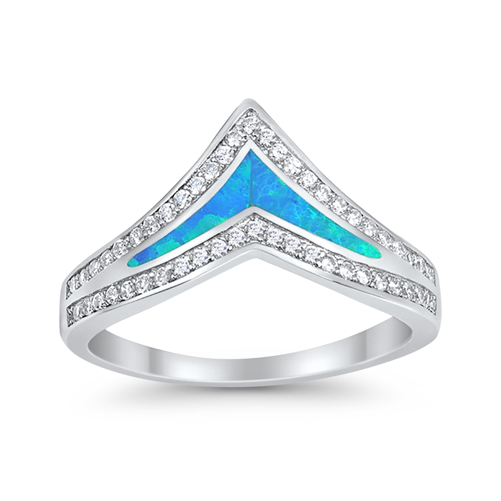 Half Eternity Chevron Midi V Ring Band Created Blue Opal Round CZ 925 Sterling Silver