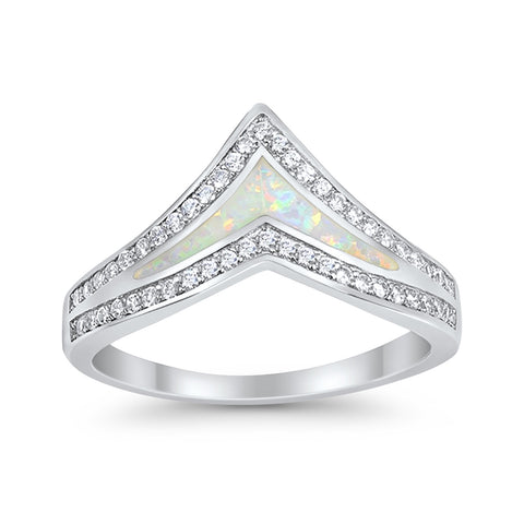 Chevron Midi V Ring Lab Created White Opal Round CZ 925 Sterling Silver