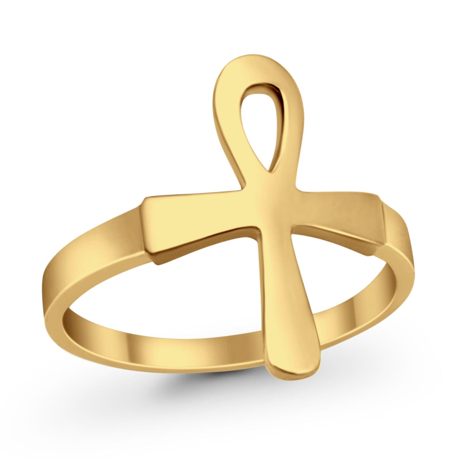 925 Sterling Silver Ankh Ring Yellow Tone Plain Simple Egyptian Design Ring