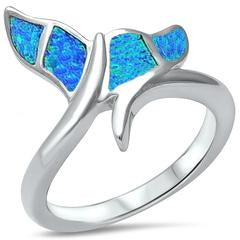Nautical Jewelry Lab Created Blue Opal Whale Tail Ring 925 Sterling Silver