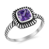 Princess Cut Simulated Amethyst Cubic Zirconia Oxidized Design Ring 925 Sterling Silver
