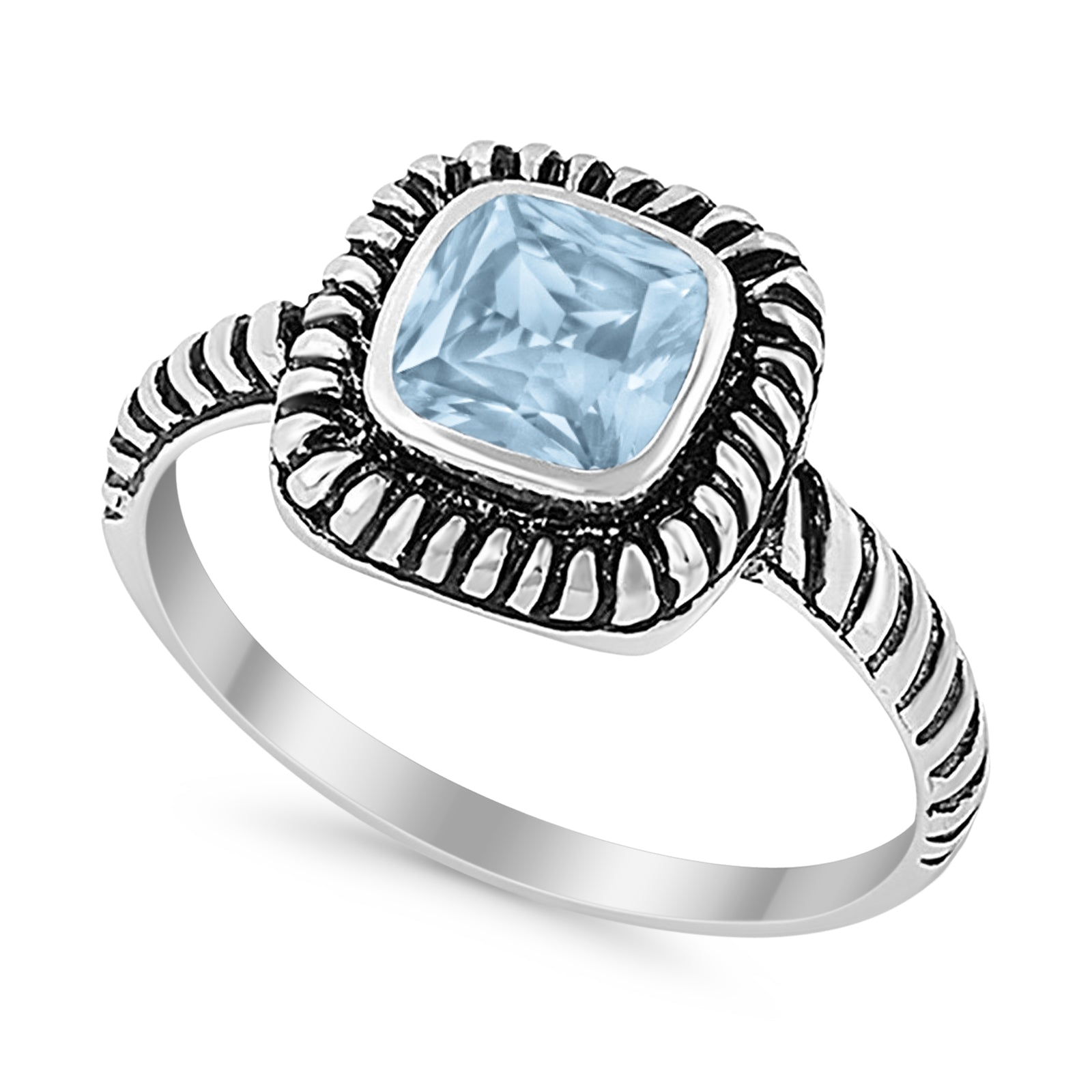 Princess Cut Simulated Aquamarine Cubic Zirconia Oxidized Design Ring 925 Sterling Silver