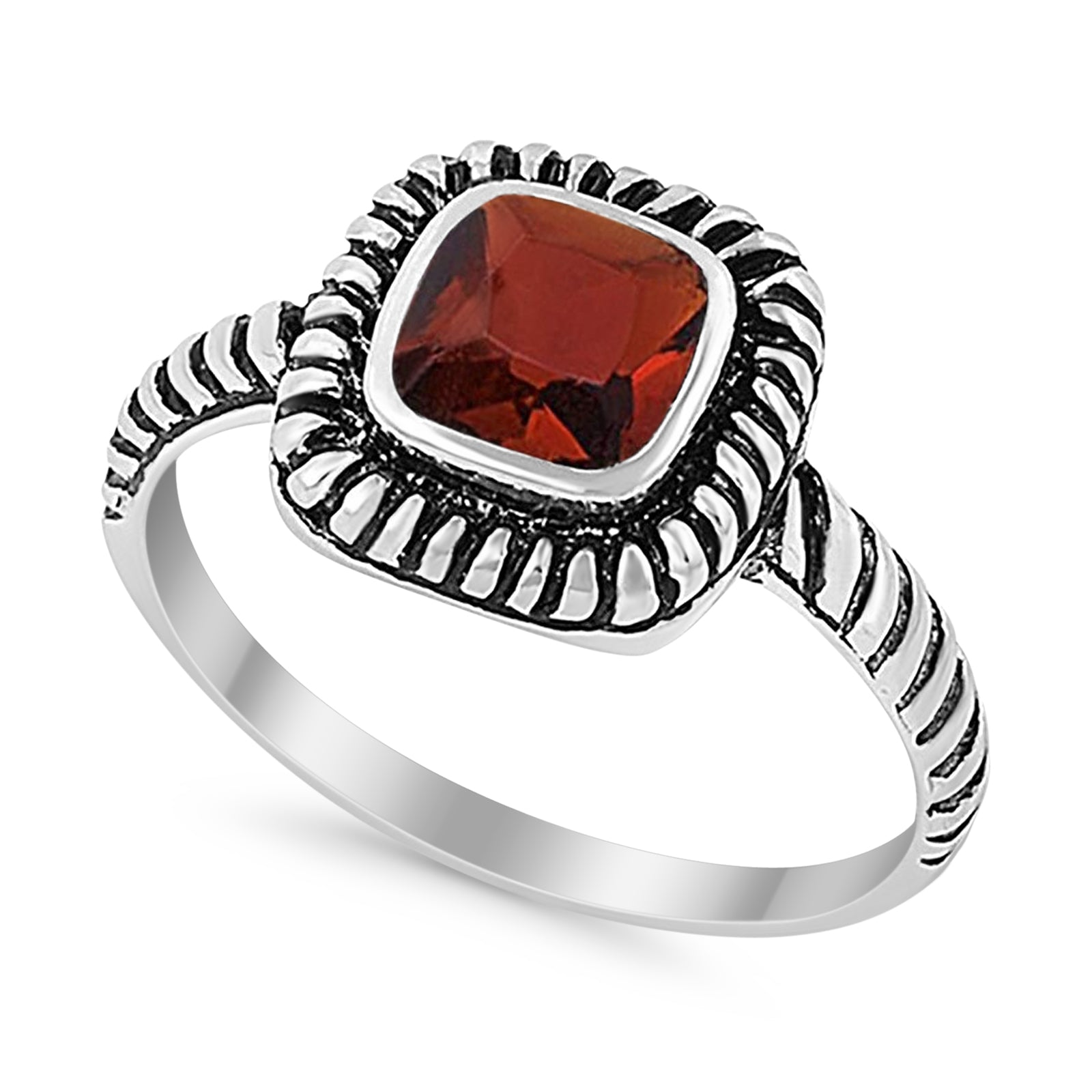 Princess Cut Simulated Red Garnet Cubic Zirconia Oxidized Design Ring 925 Sterling Silver