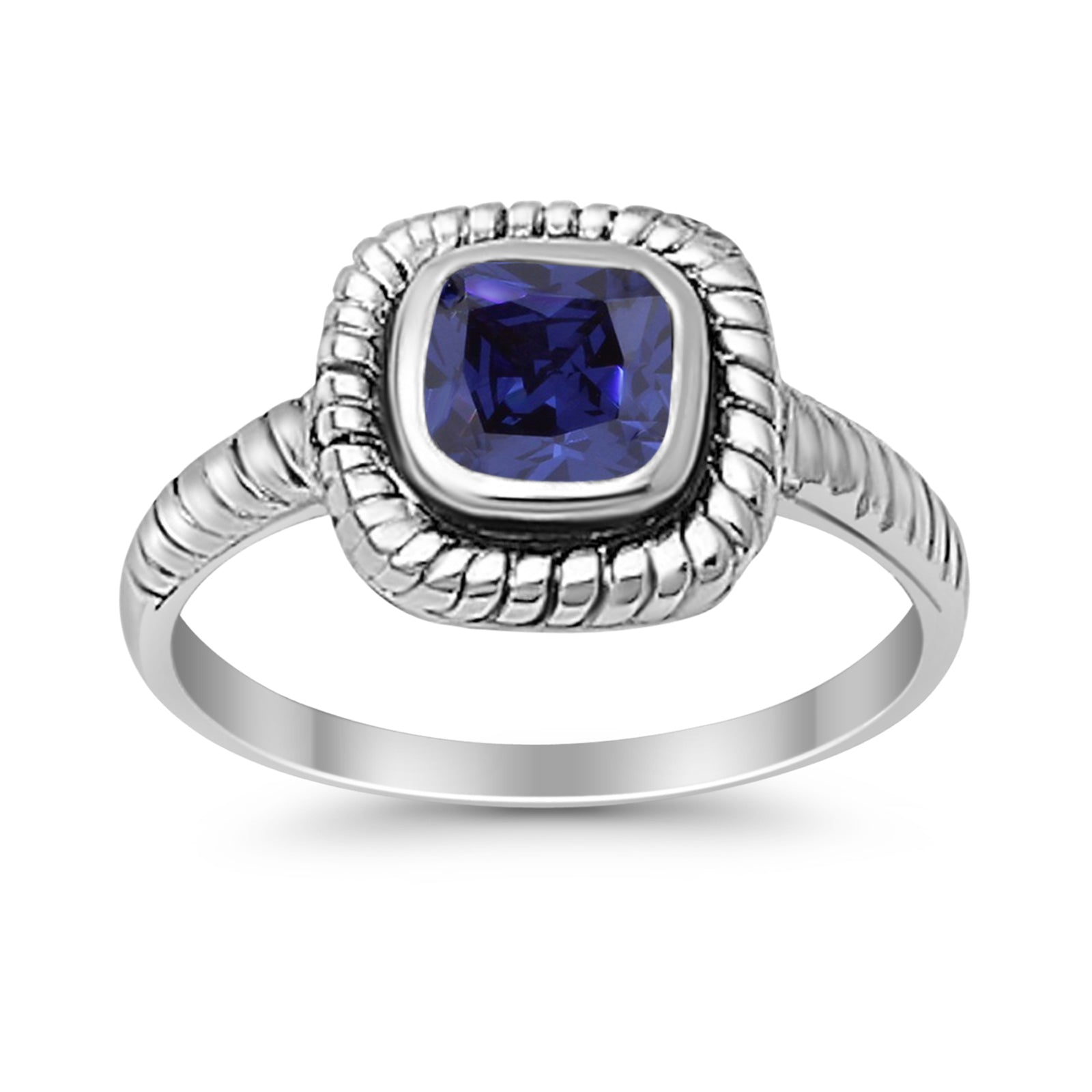 Princess Cut Simulated Blue Sapphire Cubic Zirconia Oxidized Design Ring 925 Sterling Silver