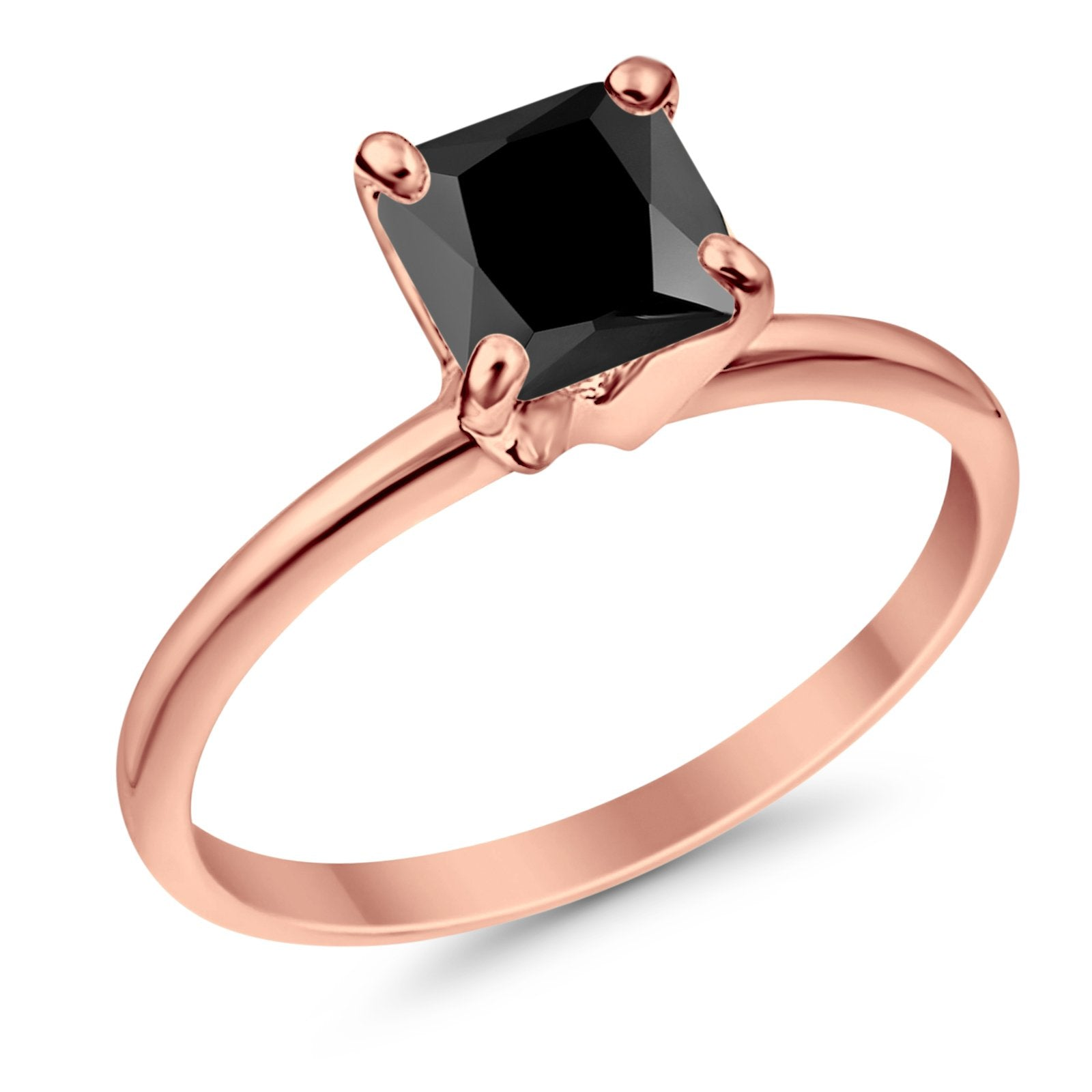 Solitaire Wedding Ring Princess Cut Simulated Black Cubic Zirconia Rose Tone 925 Sterling Silver