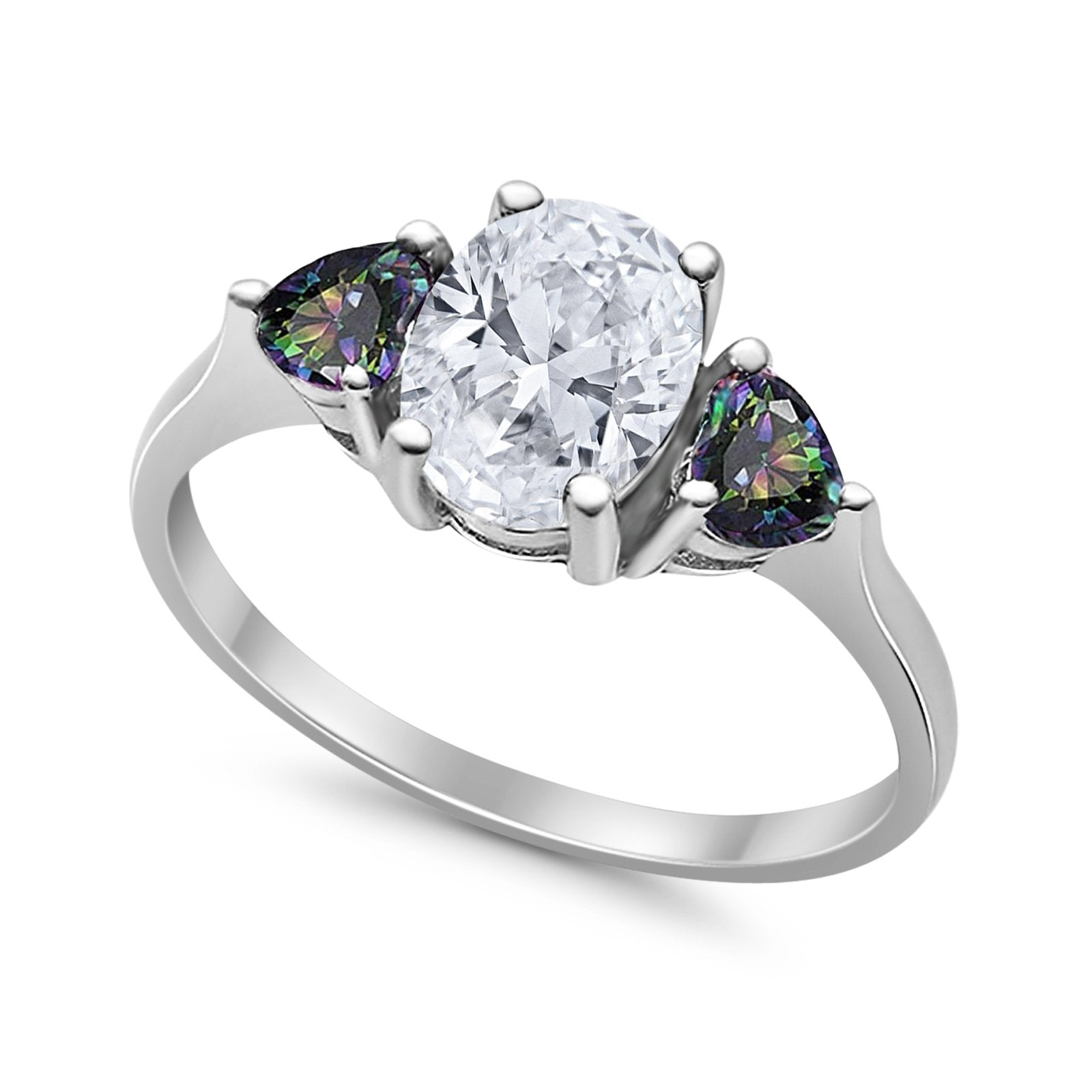 Fashion Promise Ring 3-Stone Simulated Rainbow CZ 925 Sterling Silver