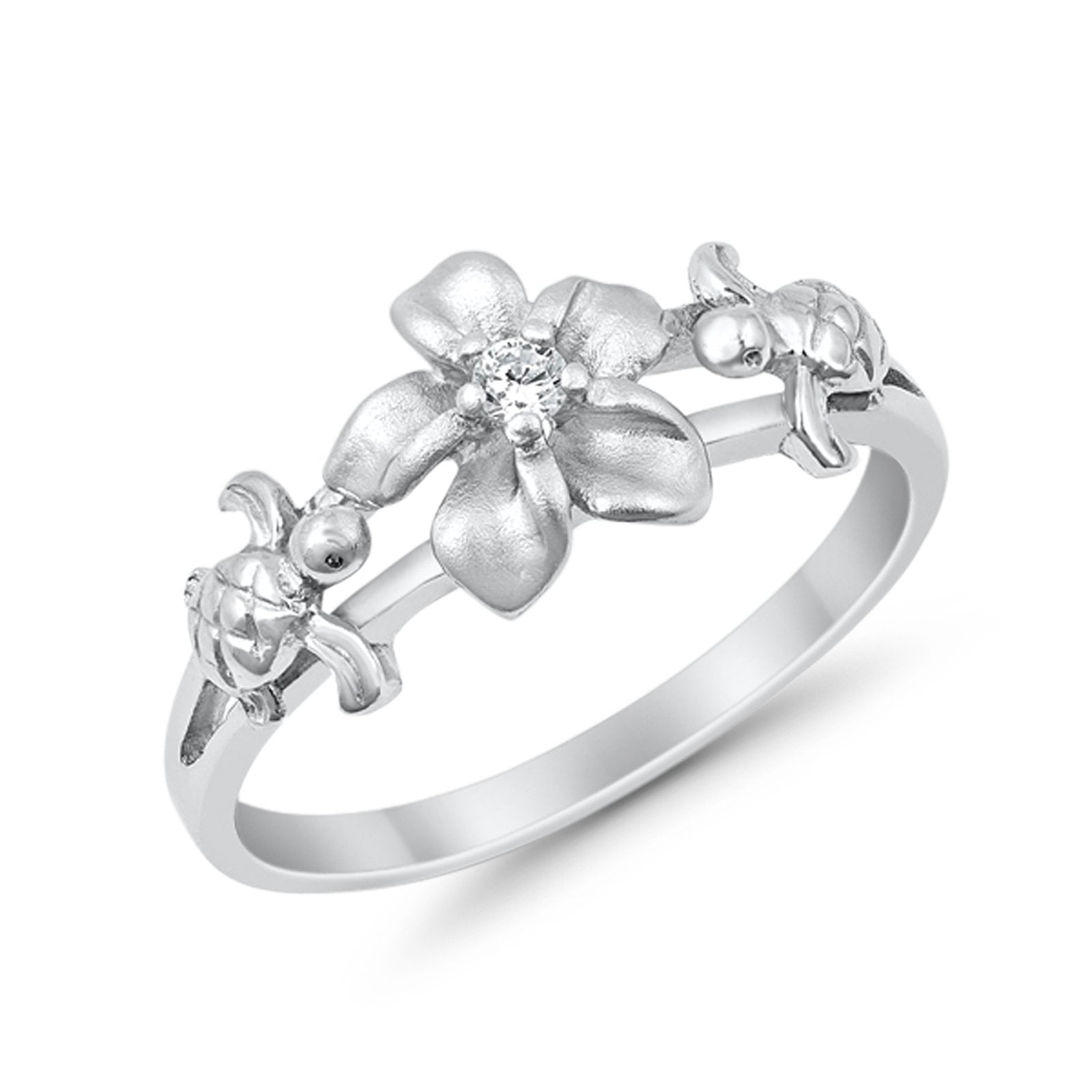 Two Turtle Plumeria Flower Ring Simulated CZ Round 925 Sterling Silver