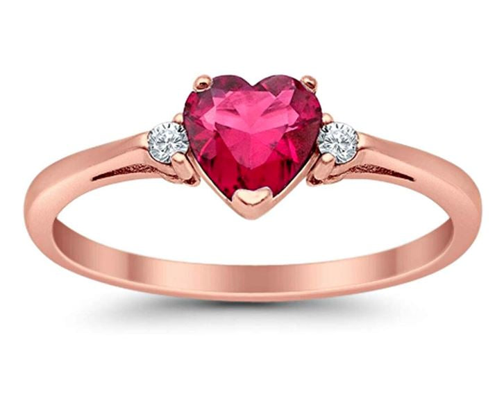 Promise Ring Heart Shaped Rose Tone, Simulated Ruby CZ 925 Sterling Silver
