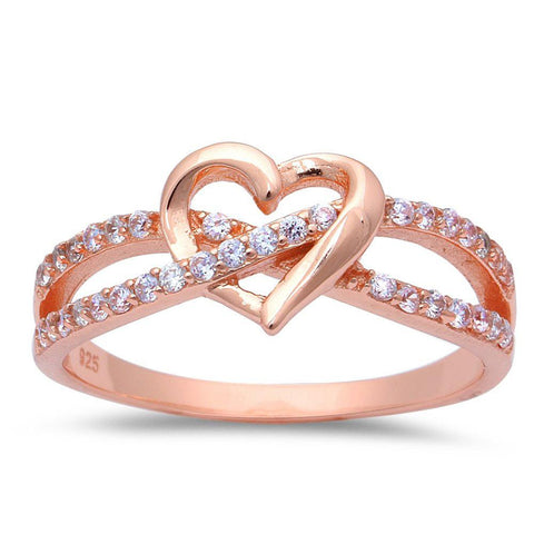 Wedding Infinity Heart Promise Ring Round Cubic Zirconia Rose Tone 925 Sterling Silver