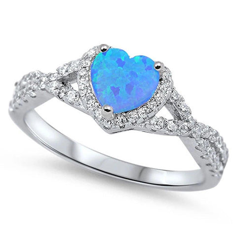 Halo Infinity Shank Heart Ring Created Blue Opal Round Clear CZ 925 Sterling Silver