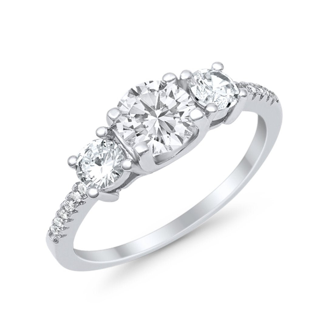 Three Stone Wedding Engagement Bridal Ring Round Simulated Cubic Zirconia 925 Sterling Silver